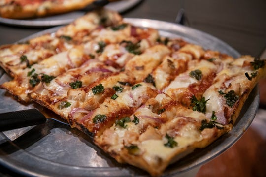 Buddy's 'Two Jimmy's' pizza features barbeque chicken.