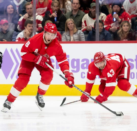 Red Wings' Justin Abdelkader could be playing center when he returns from injury.
