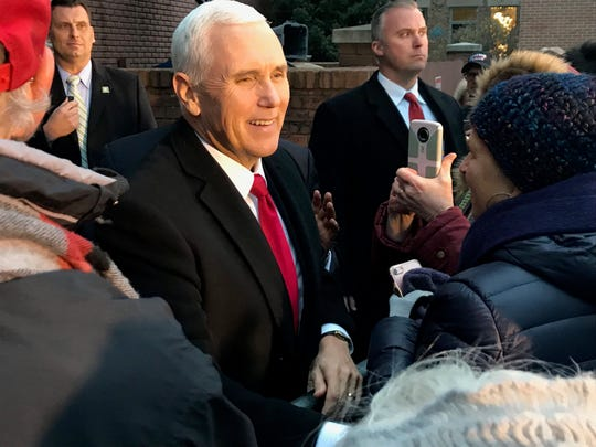 Vice President Mike Pence greets supporters at a rally in Holland, Michigan, on Wednesday, Dec. 4, 2019.