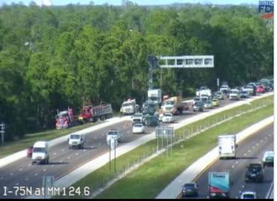 A dump truck spilled sand, backing up traffic about 2 p.m. on Interstate 75 between Alico and Corkscrew roads.