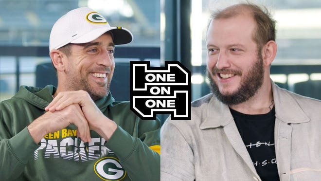 """Aaron Rodgers and Justin Vernon of Bon Iver sat down together at Lambeau Field for a new episode of GQ Sports' """"One On One"""" series."""