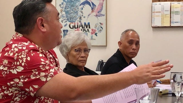 "Guam Election Commission counsel Vincent Camacho, left, gestures as he talks about an election reform measure, Bill 246, while Election Commissioners Antonia ""Toni"" Gumataotao and Jerry Crisostomo look on, during a Dec. 3, 2019 meeting."