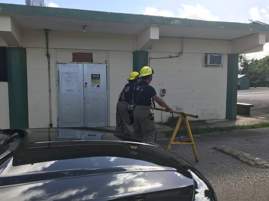 Guam Fire Department and Guam Police Department respond to an unexploded ordnance at the Agana Heights Mayor's Office