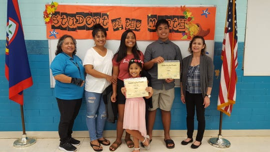 Guahan Academy Charter School's October Student of the Month is Alaina Apis. Pictured from left: Mary Mafnas, Darlene Apis; Atika Apis; Kekoa Apis and Lynda Hernandez-Avilla, dean of Secondary Guahan Academy Charter School.