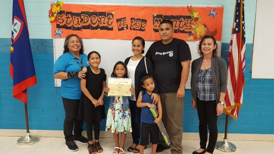 The Guahan Academy Charter School honored its October Student of the Month awardees on No. 21. Pictured from left: Mary Mafnas, Dean of Elementary Guahan Academy Charter School; Keidavonnie, Isabella, Gio, Inez and Brandon Pillias, Lynda Hernandez-Avilla, Dean of Secondary  Guahan Academy Charter School.