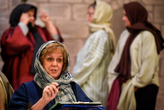 "Coordinator Missy Ellis directs some of the 120 cast members during a dress rehearsal of the Cairo United Methodist Church's production of ""Journey to Bethlehem"" Tuesday evening. The popular event regularly draws as many as 1,000 people to participate in a re-creation of the village of Bethlehem, December 3, 2019."