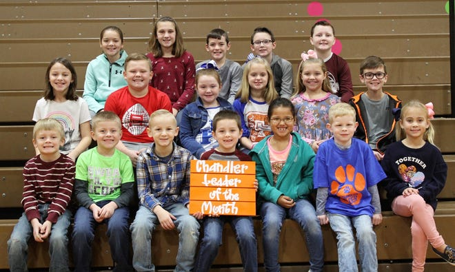 Chandler Elementary's November Leaders of the Month for November 2019 are, first row from left: Jakolby Caine, Braxton Embry, Lucas Simpson, Waylon Clark, Phlaysha Jobe, Blair Overfield and Kynli Dixon. Second row from left: Abigail Smith, Austin O'Nan, Khloe Crowley, Braelyn Gish, Ellen Chaney and Henry Davis. And third row from left: Tanner Pearcy, Riley Smith, Carsyn Arnett, Liam Fulcher and Levi Smith.