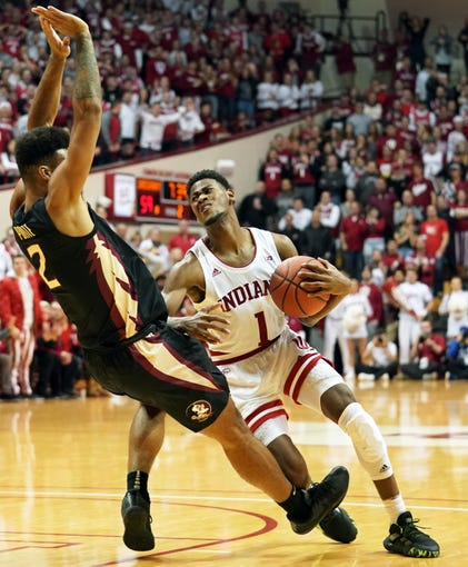 Indiana Hoosiers guard Al Durham (1) commits an offensive foul during the game against Florida State at Simon Skjodt Assembly Hall in Bloomington, Ind., on Tuesday, Dec. 3, 2019.