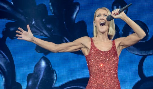 Celine Dion performs at Bankers Life Fieldhouse in support of her Courage World Tour, Indianapolis, Tuesday, Dec. 3, 2019.