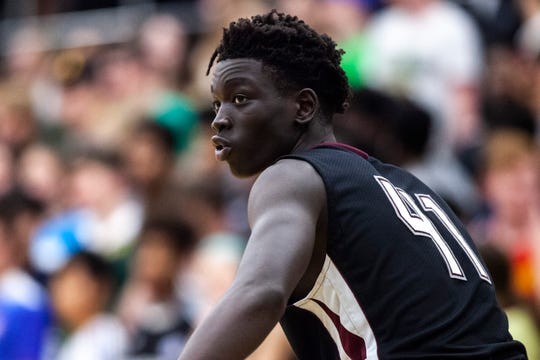 Dowling Catholic's Omaha Biliew (41) looks towards the bench during a Class 4A boy's basketball game, Tuesday, Dec. 3, 2019, at West High School in Iowa City, Iowa.