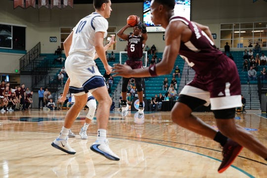 Mississippi State freshman guard Iverson Molinar takes a shot in the Bulldogs' 83-76 loss to Villanova in the Myrtle Beach Invitational.