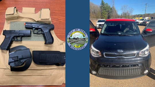 Pearl police say they discovered a tactical vest and two BB guns that closely resemble handguns on the passenger seat of a suspect's vehicle.