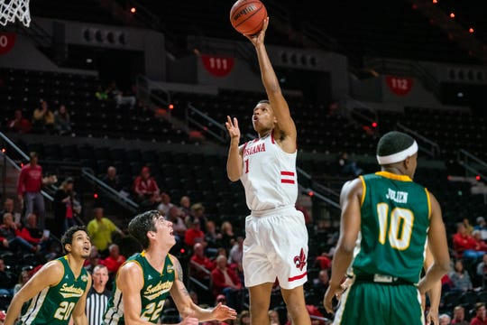 UL's Jalen Johnson scores two of his caereer-high 26 points in a win over Southeastern Louisiana on Tuesday night at the Cajundome.