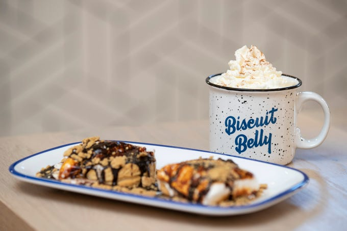 The Cinnamocha drink with the s'mores biscuit dish at Biscuit Belly on East Main Street in downtown Louisville. Dec. 4, 2019
