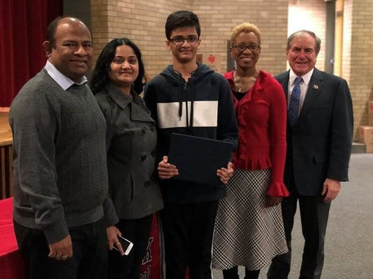 Shraman Kar is a winner of the 2019 Congressional App Challenge. Pictured from left are his parents Sudip and Somali Kar, Shraman Kar, Meyzeek Principal Ronda George and U.S. Rep. John Yarmuth.