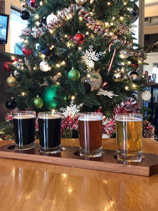A flight of bourbon barrel beers at Bluegrass Brewing Co.