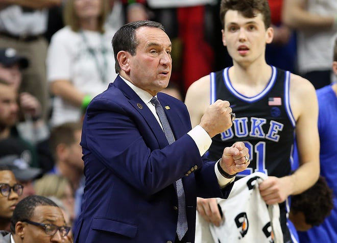 Mike Krzyzewski, left, enter his 41st season at Duke with another loaded freshman class and several key returners, including sophomore Matthew Hurt, right.
