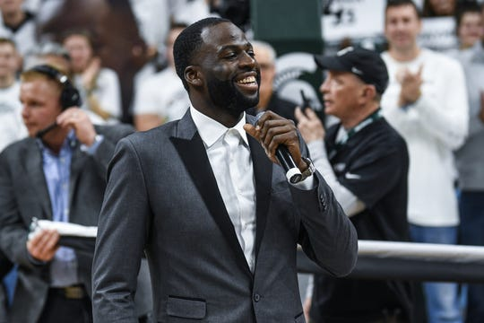 Former Spartan and Golden State Warriors All-Star Draymond Green addresses the crowd during his jersey retirement ceremony during halftime on Tuesday, Dec. 3, 2019, at the Breslin Center in East Lansing.