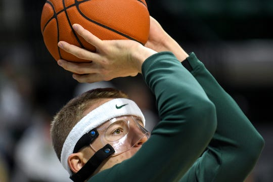 Michigan State's Thomas Kithier shoots a basket before the game against Duke on Tuesday, Dec. 3, 2019, at the Breslin Center  in East Lansing.