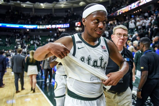 Michigan State's Cassius Winston leaves the court after the Spartans game against Duke on Tuesday, Dec. 3, 2019, at the Breslin Center in East Lansing. The Spartans lost to the Blue Devils 87-75.