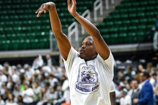 Michigan State's Cassius Winston wears an Albion College basketball camp while warming up before the game against Duke on Tuesday, Dec. 3, 2019, at the Breslin Center  in East Lansing.