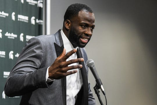 Former Spartan and Golden State Warriors All-Star Draymond Green speaks to the media before the game against Duke on Tuesday, Dec. 3, 2019, at the Breslin Center  in East Lansing. Green is having his jersey retired at half time.