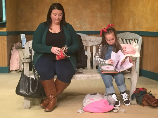 """Jessica Shaum and Anna Ankrum practice a scene from """"A Gift to Remember"""" at the Mansfield Playhouse."""