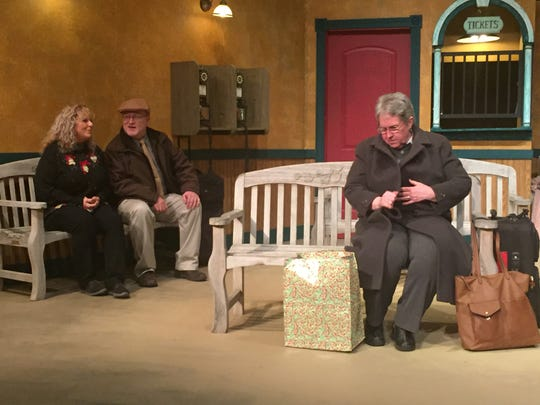 "Lori Cope, David Derrenberger and Suzanne Allen rehearse for ""A Gift to Remember"" at the Mansfield Playhouse."
