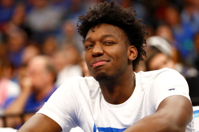 Memphis Tigers center James Wiseman watches as his teammates take on the Bradley Braves during their game at the FedExForum on Tuesday, Dec. 3, 2019.