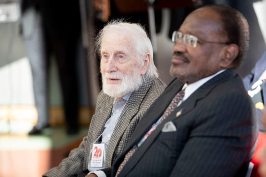 Jim Stewart (left) and Al Bell listen as people speak Wednesday, Dec. 4, 2019, during a press conference at Stax Music Academy in Memphis announcing their upcoming 20th anniversary events.