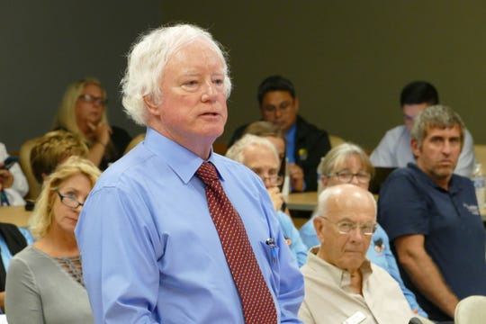 Harvey H. Harper founded Environmental Research and Design, Inc. (ERD) in 1986. In the picture, Harper speaks during a Marco Island City Council meeting on Dec. 2, 2019.