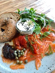 Brunch at Birch + Butcher downtown includes a plate with lox and a bagel.