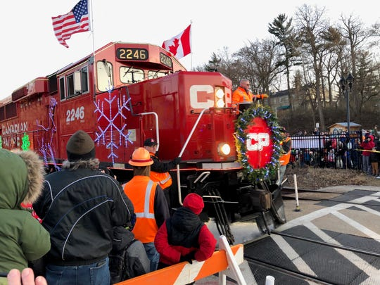 The front of the Canadian Pacific Holiday Train featured both an American and Canadian flag. The train travels throughout Canada and the U.S. from late November to mid-December.