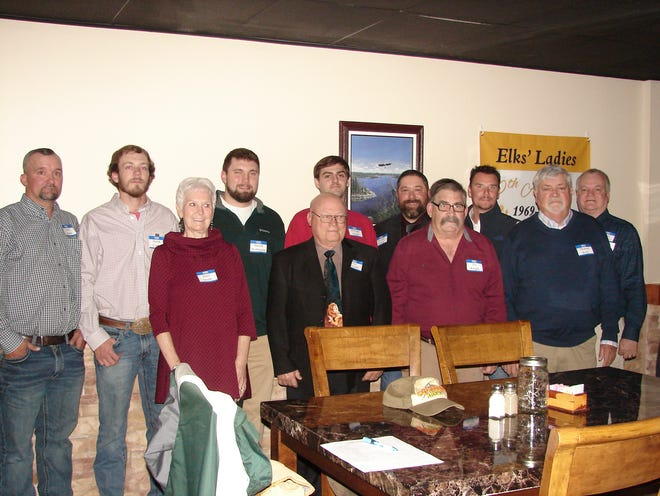 Eleven new members were recently accepted into the Benevolent and Protective Order of Elks. The new members include (from left to right)  Jason Martin, Derek Custer, Janet Smith,  Harold Wehmeyer, Gary Edwards, Michael House, Timothy Chaney, Joe Wright,  Freedom Hobbs, Thomas Kelly and Alan Massie. The ceremony was held on Nov. 26 and witnessed by about 30 current members. The ceremony was conducted by Stuart Friend, President and Exalted Ruler. The Elks, one of the largest fraternal organizations in the U.S., is composed of more than one million American citizens,  and almost 1,000 of them belong to the Mountain Home Lodge. The Elks focus on helping to improve the lives of all veterans,  as well as the youth of the country. For more information, call (870) 425-0813 or (870 425-3266.