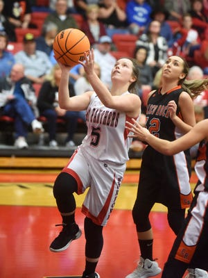 Norfork's Mesa Beavers goes up for a layup against Calico Rock on Tuesday night.