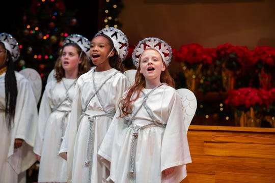 Claire Poundstone, Breanna Bennett and Mary Grace Parsons in a scene. ASF presents The Best Christmas Pageant Ever, which runs Dec. 5-29.