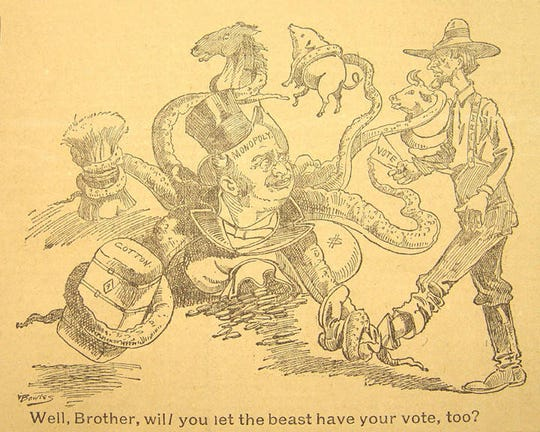 This cartoon supporting Reuben Kolb's 1894 campaign reflects the economic frustration many of his supporters felt.