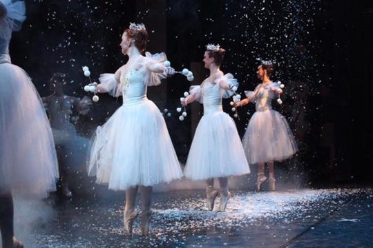 """Millie Hodge dancing """"Snow"""" from """"Kingdom of Snow"""" at the end of the first act of """"The Nutcracker""""."""