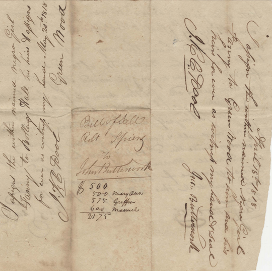 This document records the multiple sales of an African-American girl named Fanny in 1818. Fanny and three other people were given to slaveholder Bolling Hall on May 20, 1818.