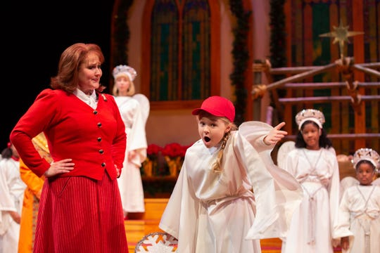 Sarah Adkins, Eva Kate Mason and the ensemble cast in a scene as ASF presents The Best Christmas Pageant Ever, which runs Dec. 5-29.