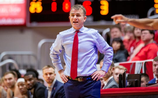 Ball State coach James Whitford relays instructions during the Cardinals game against Loyola Chicago. The Ramblers beat the Cardinals 70-58.