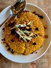 Crispy rice with brandied raisins at Lou.