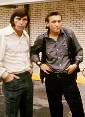 Billy Ray Reynolds (left) with Waylon Jennings at RCA Studio A in Nashville, Tennessee (c. 1970).