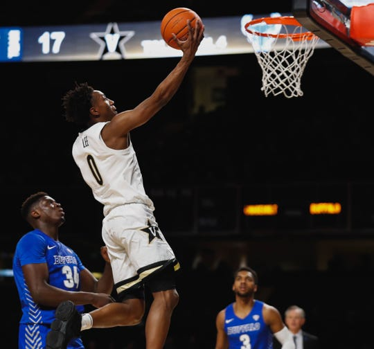 Vanderbilt junior guard Saben Lee finishes a layup against Buffalo on Tuesday at Memorial Gym.