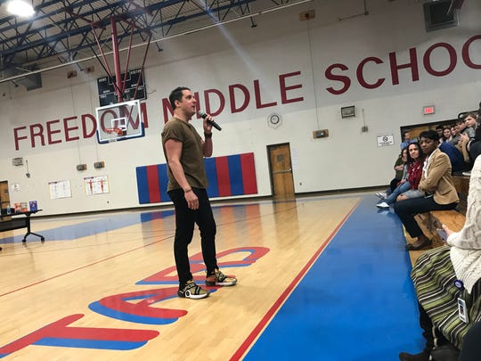 Best-selling author Pablo Cartaya led an assembly on embracing cultural differences at Freedom Middle School on Wednesday.