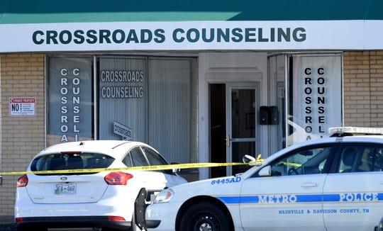 Nashville police investigate the scene where Melissa Hamilton, 50, was found dead inside Crossroads Counseling Wednesday.