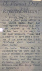 A small article appeared in a December 1941 issue of The Item of Millburn and Short Hills after Pearl Harbor, noting that Francis Day was missing.