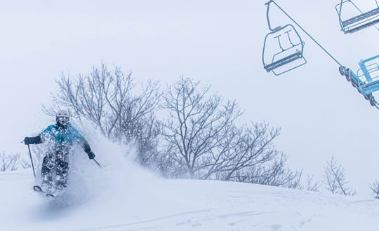 Skiers enjoy Hunter Mountain on Tuesday, Dec. 3 after a snowstorm hit the Northeast.