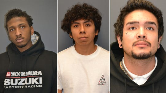 (L to R): Jordan Dufont, 19, and Jose Perez, 19, of Westwood and Kevin Henao, 23, of Moonachie were arrested by Rochelle Park police.
