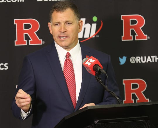 Greg Schiano gives a speech as he was introduced for his second tour as Rutgers head football coach on December 4, 2019 at the Hale Center on Rutgers campus in Piscataway, NJ.